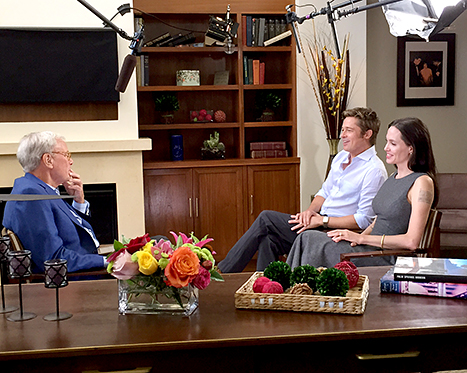Brad Pitt and Angelina Jolie with Tom Brokaw