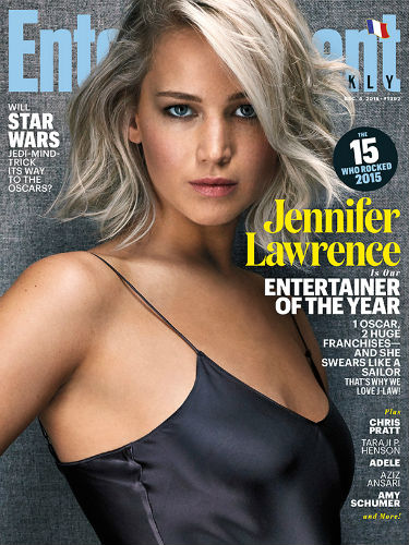 Jennifer Lawrence has been named the 2015 Entertainer of the Year by EW.