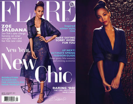 Zoe Saldana in the Jan '14 issue of Flare