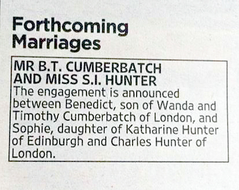 Benedict Cumberbatch engaged