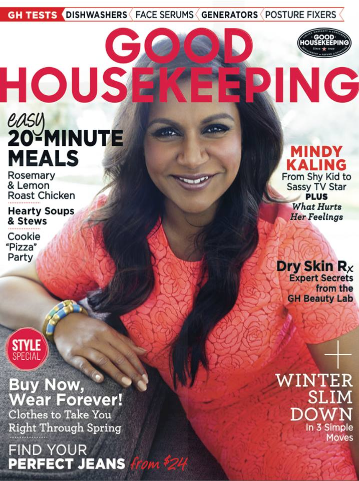 Mindy Kaling on the Feb 2015 issue of Good House Keeping.