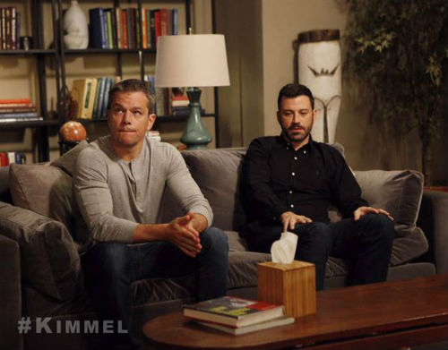 Matt Damon appears on Jimmy Kimmel Live on Sept 28, 2105
