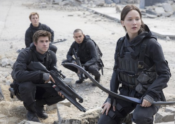 Jennifer Lawrence, Liam Hemsworth, Evan Ross and Sam Claflin in The Hunger Games: Mockingjay - Part 2